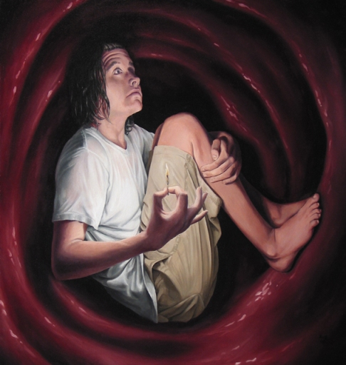 Stephen Rue, Jonah in the Whale, oil on canvas, 26.25″x25″, 2006. Say what you will about Jonah, packing the waterproof matches was good foresight.