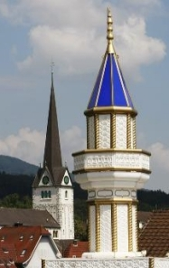 Minaret and cross