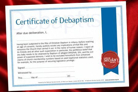 debaptism certificate