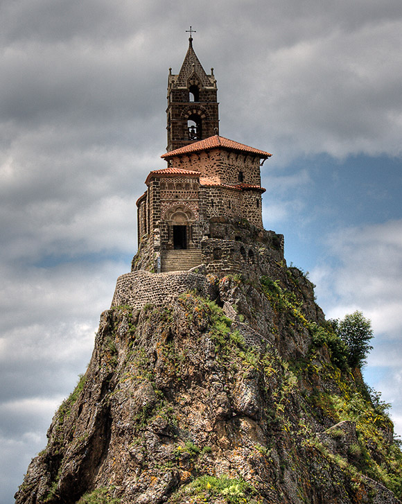 Saint-Michel d'Aiguilhe chapel in Le Puy-en-Velay, France. Not exactly visitor friendly. My wife wants to know where the pastor's parking space is.
