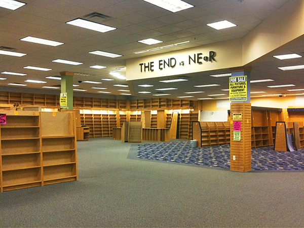 The scene a year ago as Borders bookstore locations closed.