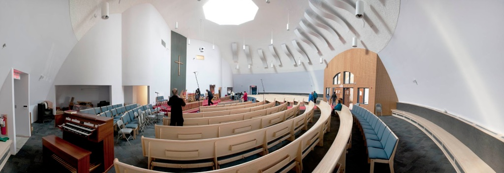 Not a lens trick, this is the circular seating at the Igloo Church in Iqaluit in Canada's north. It has nothing to do with this article, but click the picture to learn more.