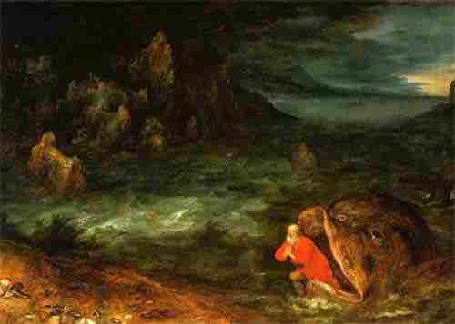 """Jonah Leaving the Whale"" by Jan Brueghel the Elder, 1600. Do our children treat the story as a record of a true event or do they mentally classify it with Jack and the Beanstock?"