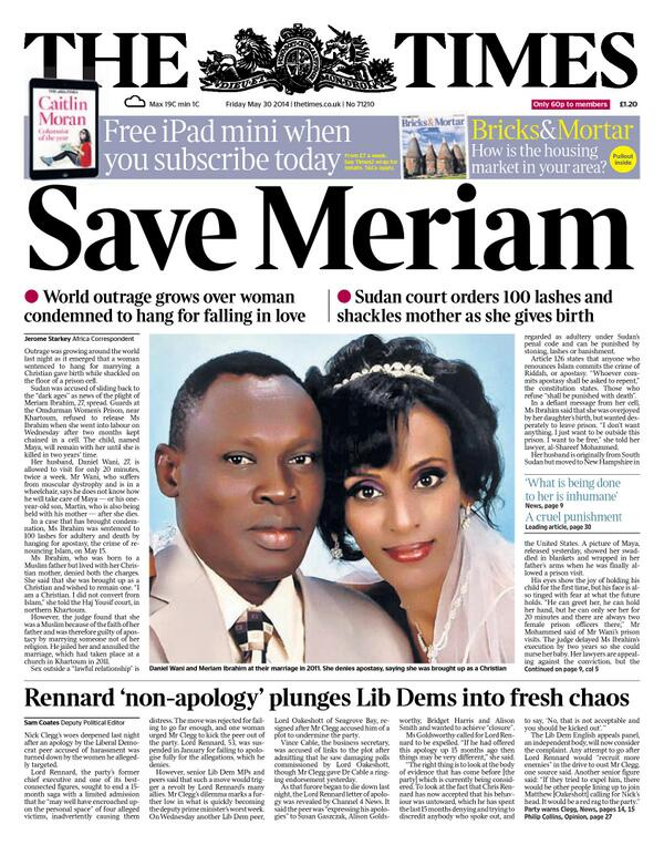 Times front page May 30 2014