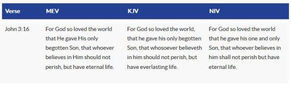 MEV passage comparison - John 3 16