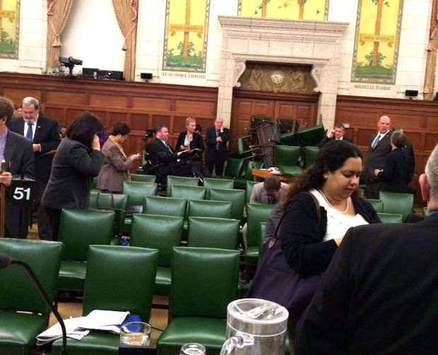Members of Parliament barricade the doors to the House of Commons - October 22, 2014; CTV Twitter