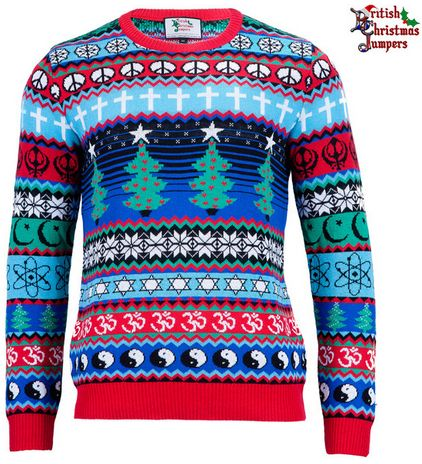 Still stuck for Christmas ideas? This unisex multicultural, multifaith sweater has something for everyone. Click the image to order from the UK.