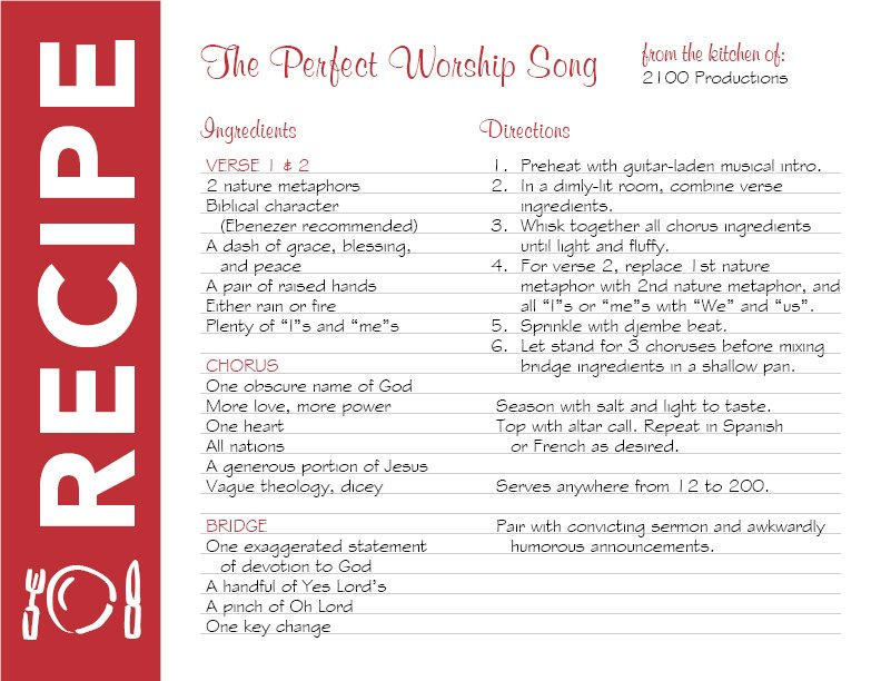 Recipe for a Praise and Worship Song from 2100 Productions