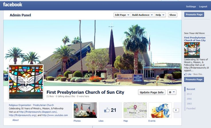 Sample of Church Facebook Page
