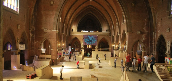 The above is taken from a Wall Street Journal article about European Cathedrals being sold off, this one in Holland was re-purposed as a skateboard park.