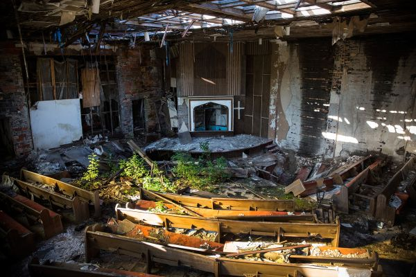 The interior of an abandoned church is seen on September 5, 2013 in Detroit, Michigan. From the Huffington Post link below, click through to see 14 more abandoned churches.