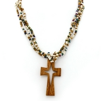 From Java, a beaded wood cross necklace from Gifts With A Cause.