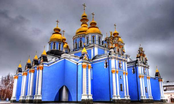 St. Michael's Golden-Domed Monastery – Kiev, Ukraine.  More interesting church architecture at this link.