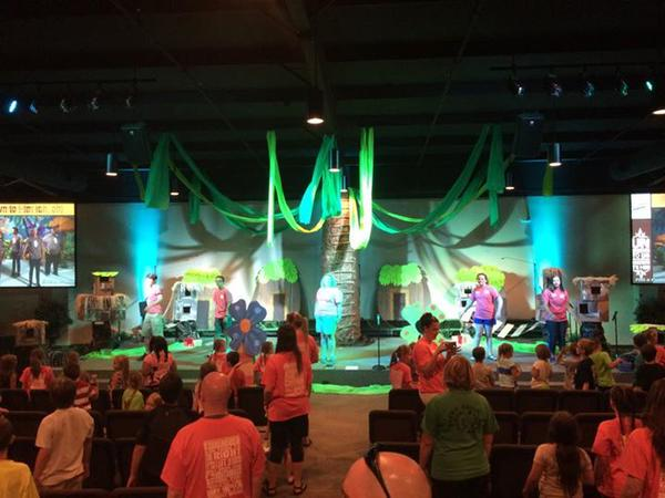 While none of the pictures will make the Church Stage Design website, many church platforms are being transformed for VBS.