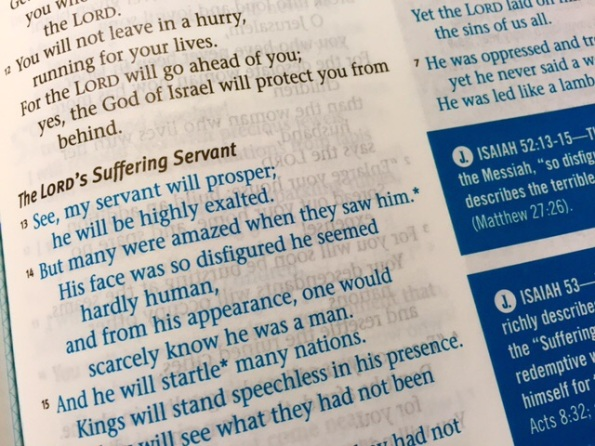 Page sample of NLT Jesus Centered Bible. Print bleed through from previous page is at no extra charge.