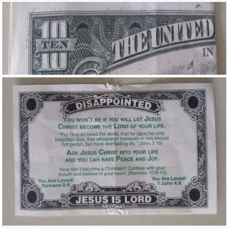 A restaurant manager went to bat for his employee who got a tract like this instead of tip. Click the image to read.