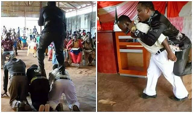 A pastor in Tanzania reportedly preaches while standing on top of his church members because his feet must not touch the ground during sermon; able-bodied brothers in the church have to carry the pastor on their back one after the other until the end of the service. Click the image for more.