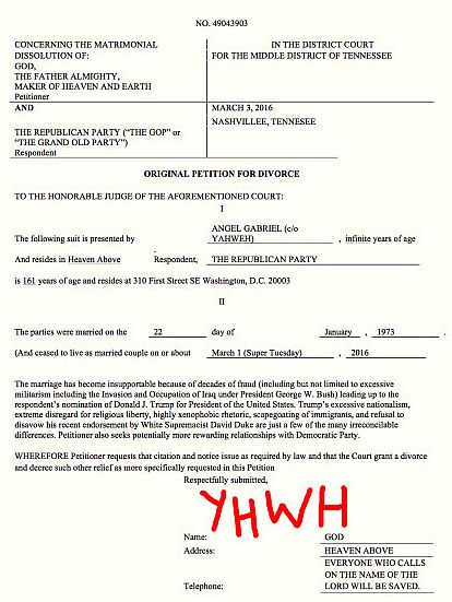 God has filed for divorce from the Republican Party. Click image for story.