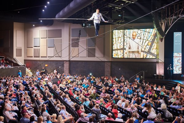 Nik Wallenda at an Easter service at Bayside Church in Bradenton, Florida. The connection to atonement and resurrection should be obvious.