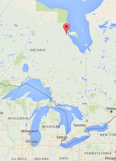 Attawapiskat, Ontario shown by pin: It's waaaay up there, and not much else is nearby.