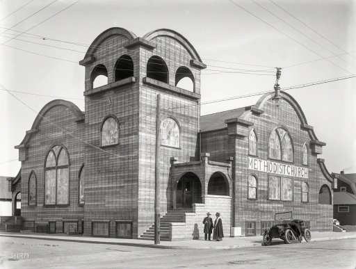 From Shorpy.com: The Church of the Wild Wood, First Wesley Methodist Episcopal is seen in 1912 before the first coat of stucco is applied.