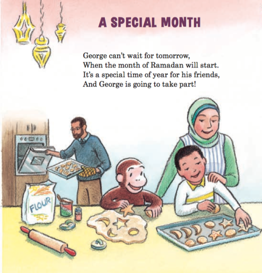 Apparently Curious George is an equal opportunity monkey, having previously covered Christmas, Thanksgiving, and Hanukah, unlike those Berenstain Bears who I think are Baptist. More about the Ramadan book at this link.