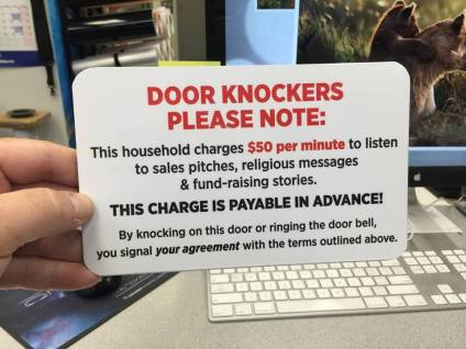 Door Knockers Please Note