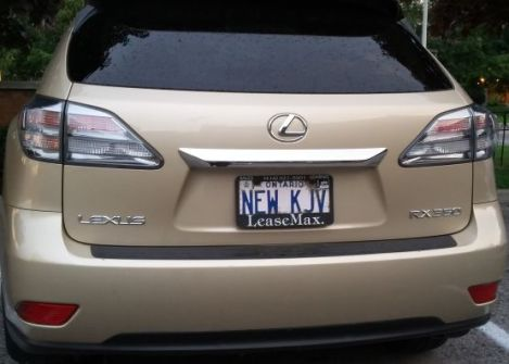 This Lexus owner is either a NKJV supporter, or expressing a Christmas wish for a new copy of the classic. Will that be 1611 or 1789?