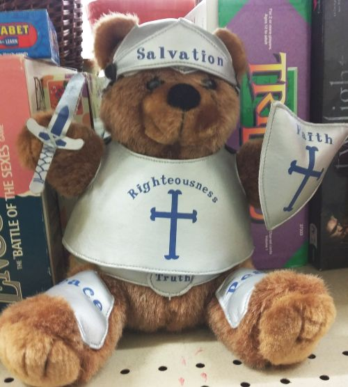 As To The Above Picture My Wife Found This Armor Of God Plush Bear In A Thrift Shop Yesterday